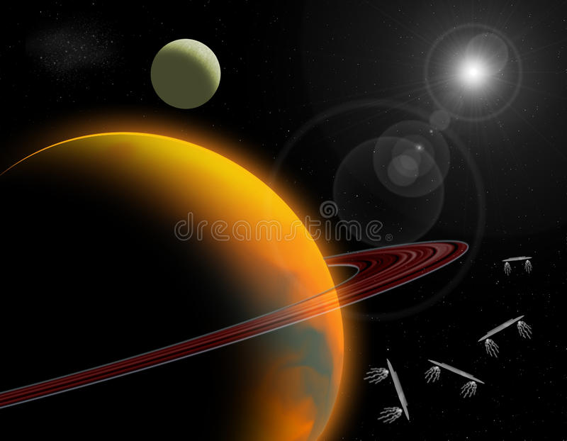 Сцена космического пространства иллюстрация вектора