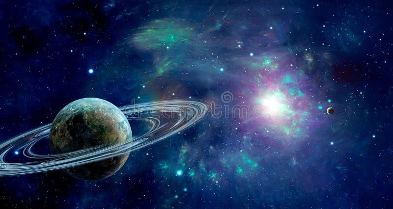 Сцена космоса Голубое красочное межзвёздное облако с 2 планетами Мех элементов иллюстрация штока