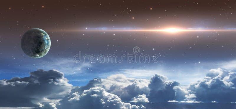 Сцена космоса Небо звезды с пирофакелом облаков, планеты и объектива r r иллюстрация вектора