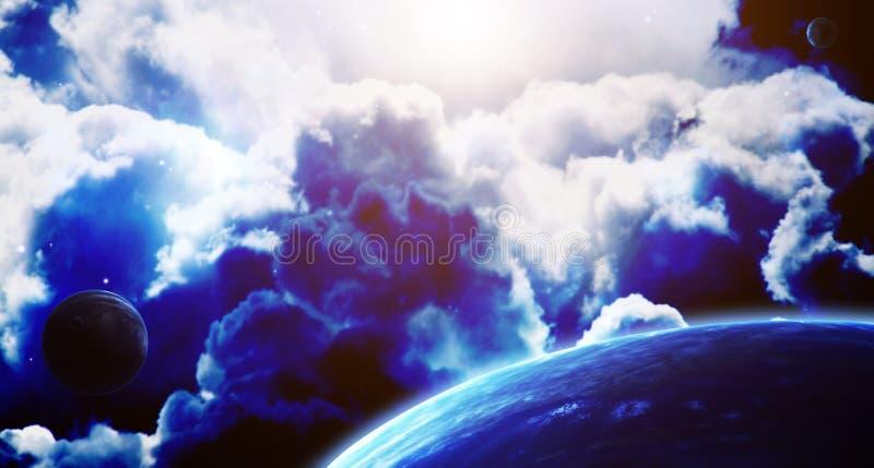 Сцена космоса с планетами и межзвёздным облаком иллюстрация вектора