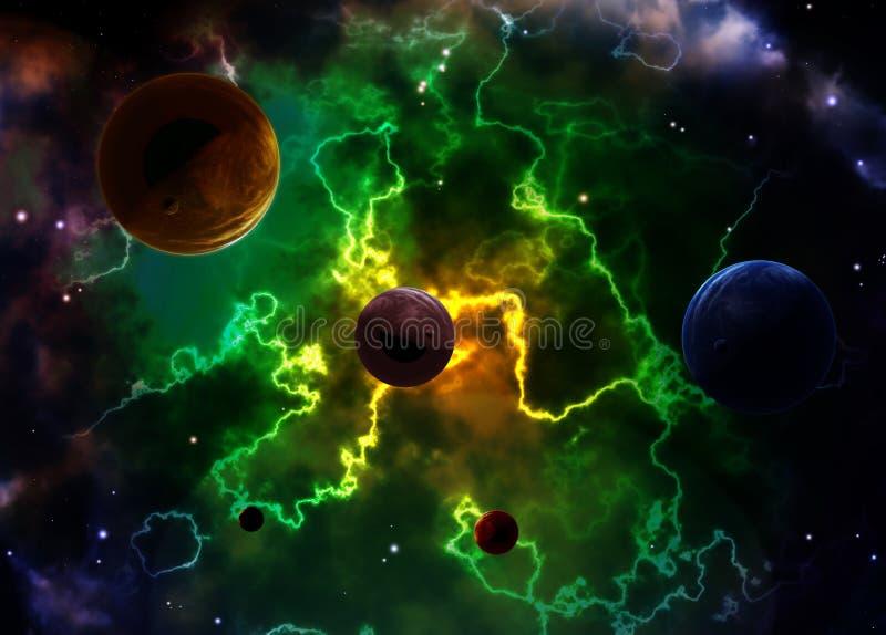 Сцена космоса с планетами и межзвёздным облаком иллюстрация штока