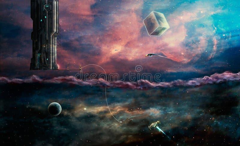 Сцена космоса 2 чужеземца миров и наш Элементы поставленные NA иллюстрация вектора