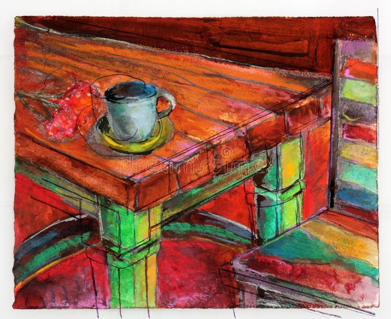 Сцена кухни иллюстрация штока