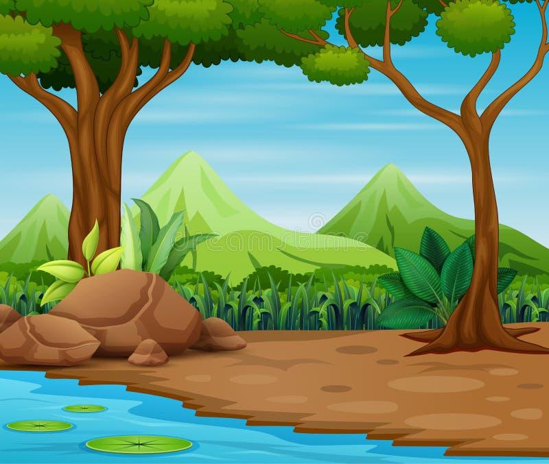 Сцена леса с деревьями и красивой предпосылкой ландшафта иллюстрация штока