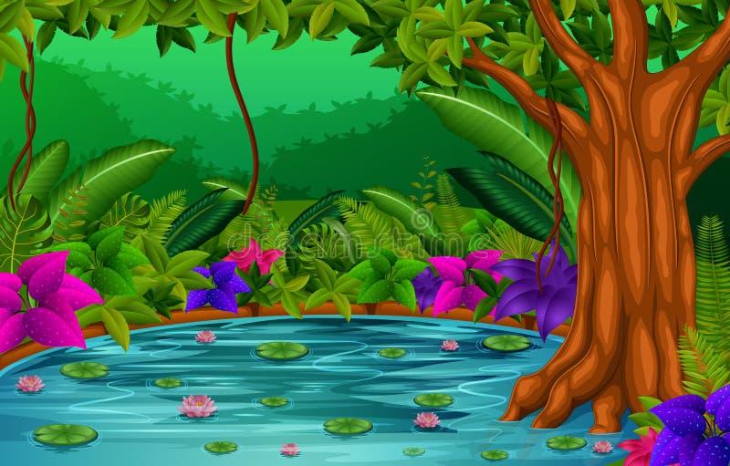 Сцена леса с озером иллюстрация штока