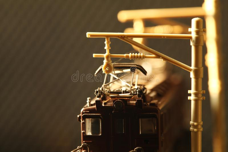 Сцена модели игрушки железной дороги миниатюры стоковое фото