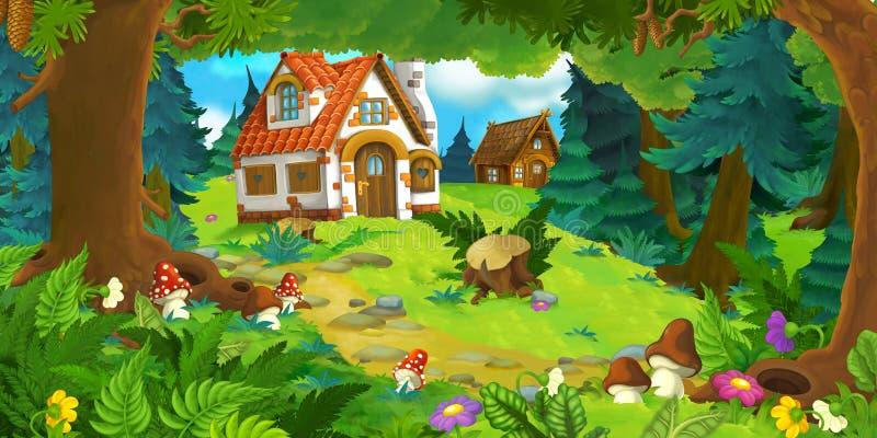 Сцена мультфильма с красивым сельским домом кирпича в лесе на луге бесплатная иллюстрация