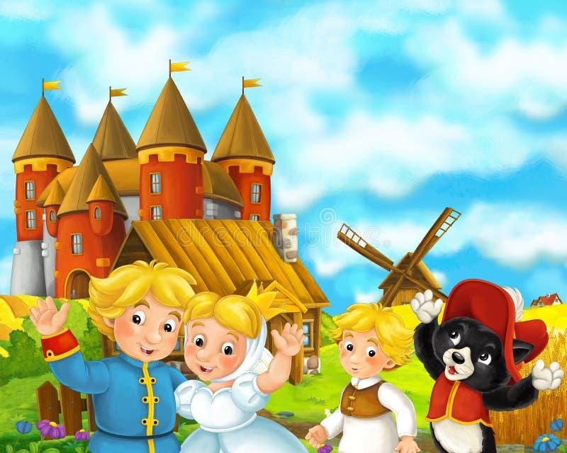 Сцена мультфильма с некоторыми средневековыми парами и котом свадьбы фермеров стоя говоря и усмехаясь красивый замок на заднем пл иллюстрация вектора