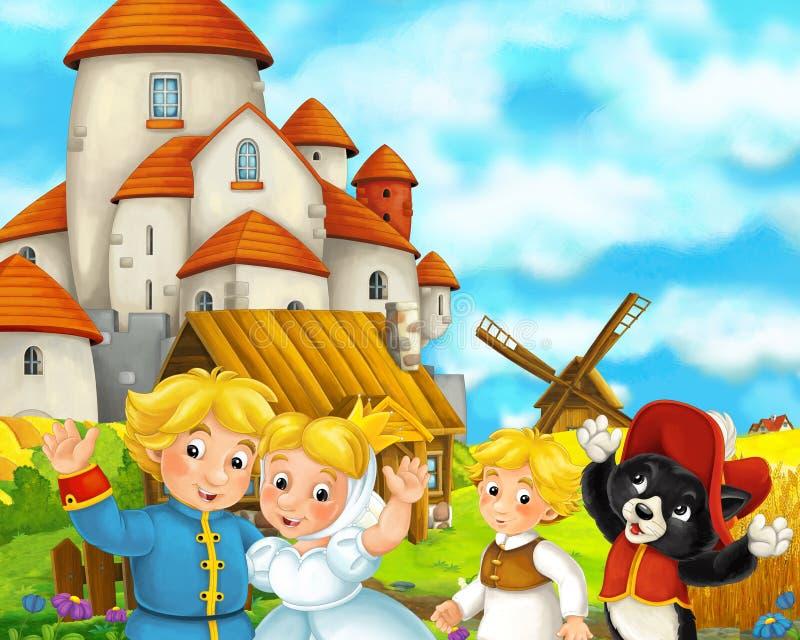 Сцена мультфильма с некоторыми средневековыми парами и котом свадьбы фермеров стоя говоря и усмехаясь красивый замок на заднем пл иллюстрация штока