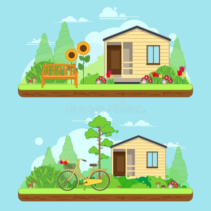 Сцена на летний день в саде Ландшафты лета с домом, велосипедом и деревьями иллюстрация вектора