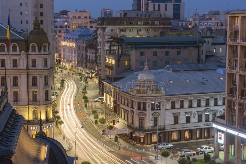 Сцена ночи Бухареста стоковые фотографии rf
