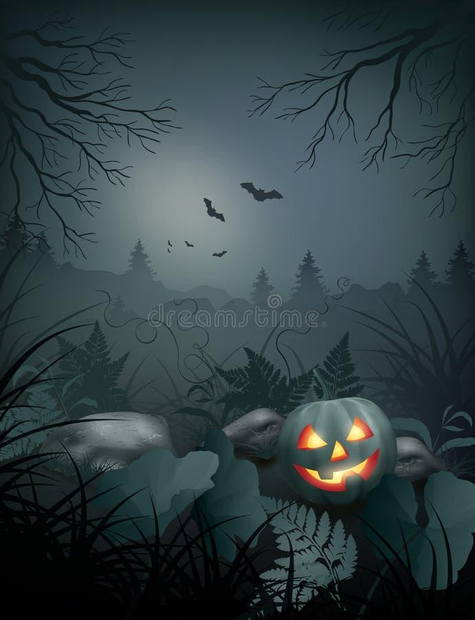 Сцена ночи вектора хеллоуина иллюстрация вектора