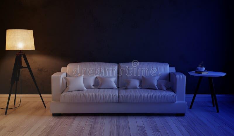 Сцена ночи внутренней живущей комнаты стоковые фото