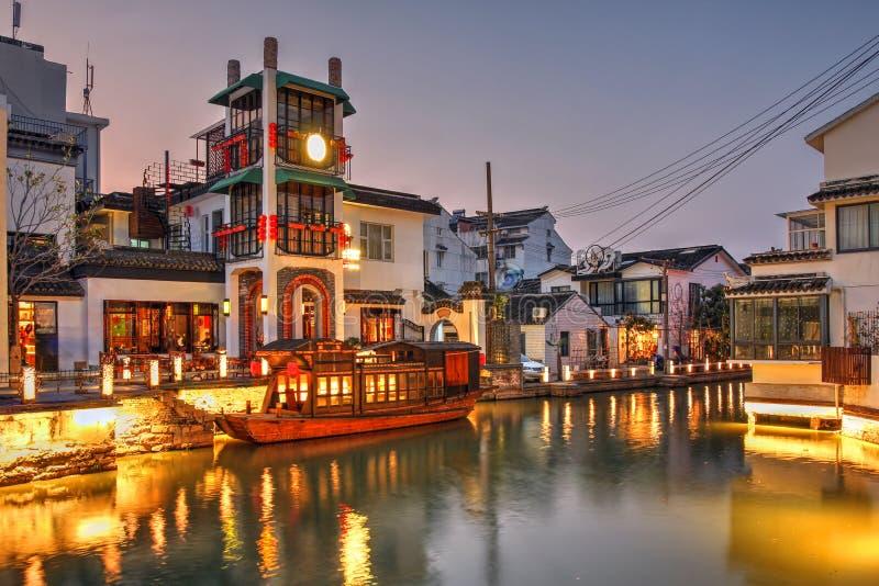 Сцена ночи в Сучжоу, Китае стоковые изображения