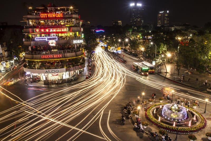 Сцена ночи в Ханое стоковое изображение rf