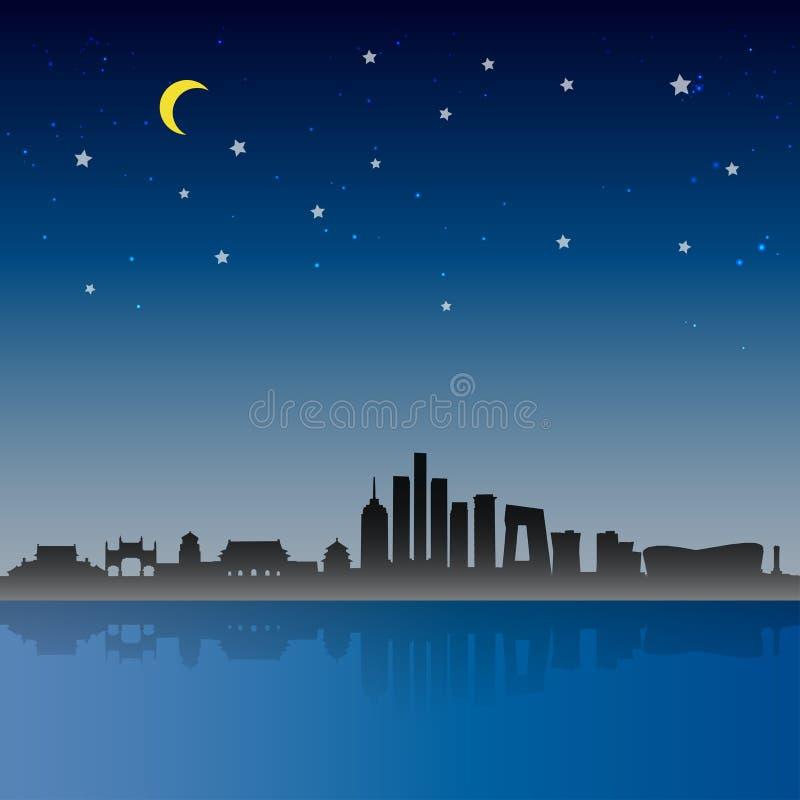 Сцена ночи города Пекин иллюстрация штока
