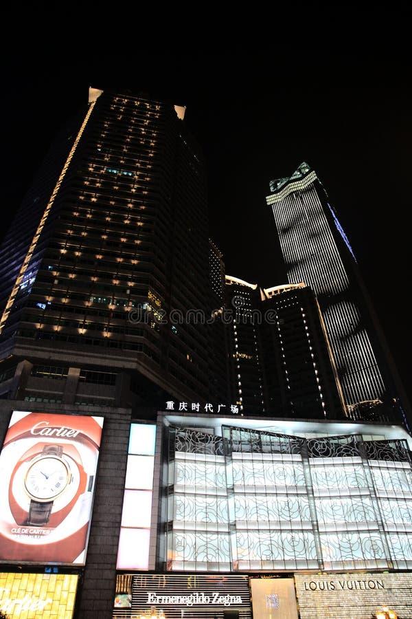 Сцена ночи города Чунцина стоковые изображения rf
