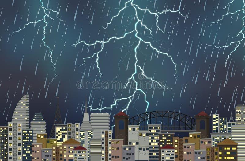 Сцена ночи грозы городская иллюстрация штока