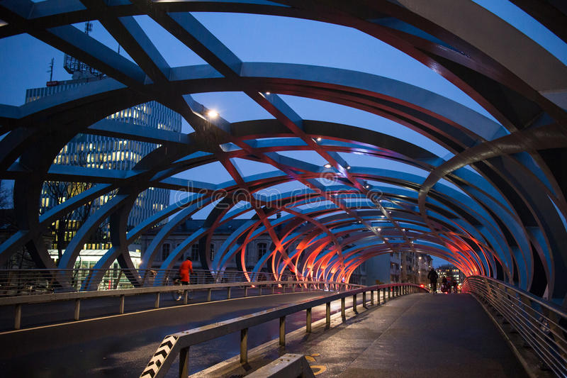 Сцена ночи моста Женевы стоковые изображения rf
