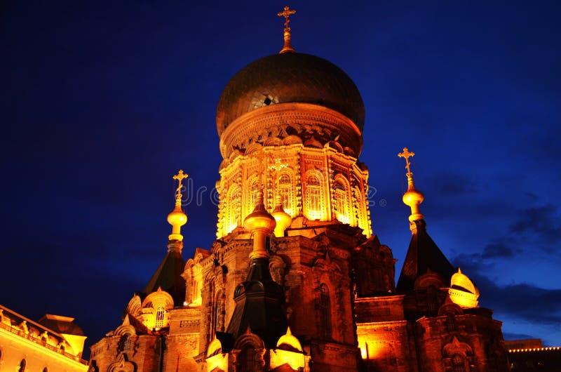 Сцена ночи собора в Харбин, Китая Sophia Святого стоковое изображение rf
