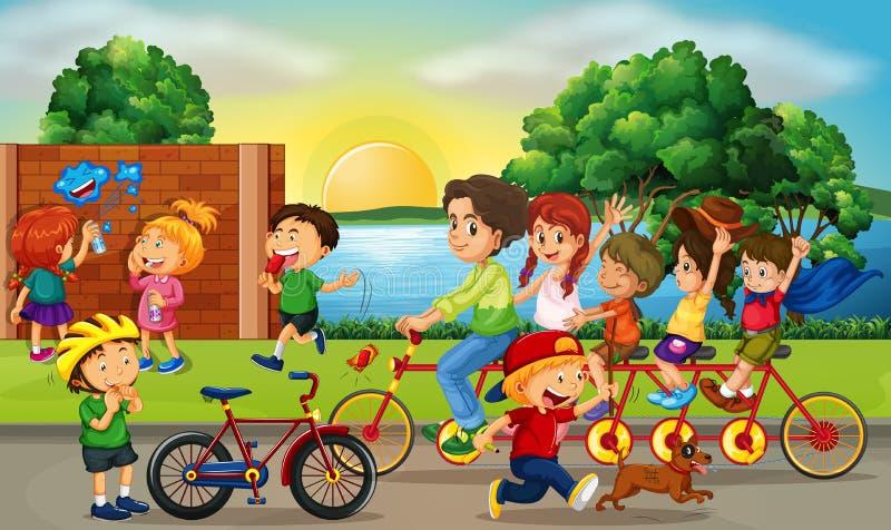 Сцена дороги с детьми и катанием семьи велосипед иллюстрация штока