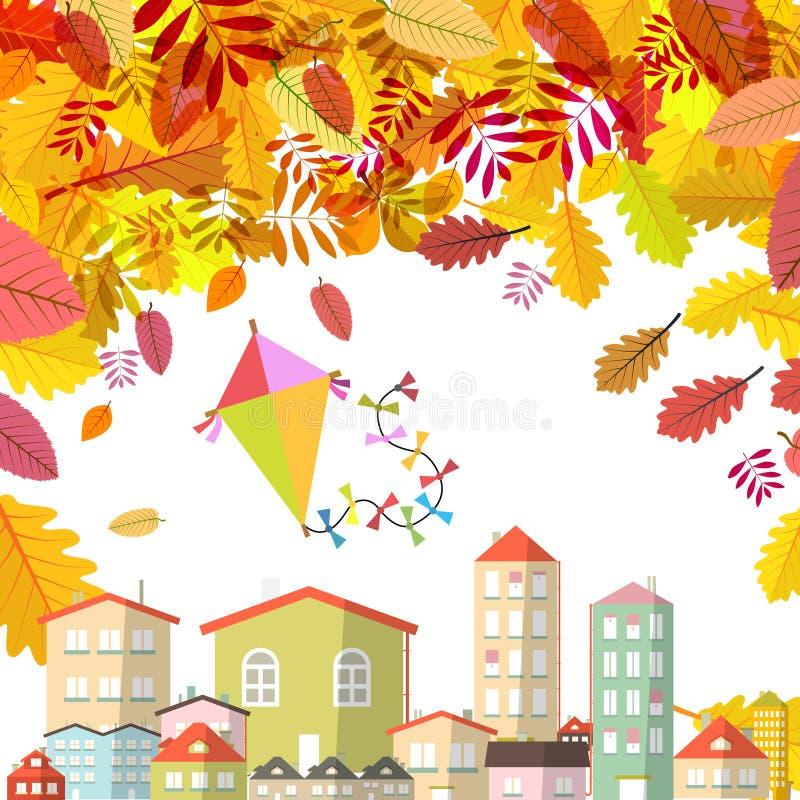 Сцена осени с падая листьями и абстрактными городом и змеем на небе иллюстрация вектора