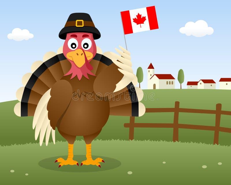 Сцена официальный праздник в США в память первых колонистов Массачусетса - Турция Канада иллюстрация вектора