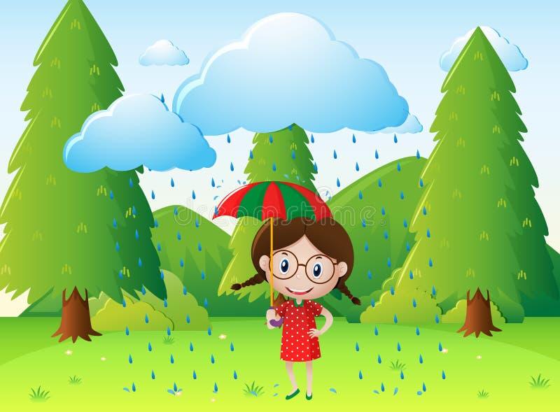 Сцена парка с девушкой в дожде бесплатная иллюстрация