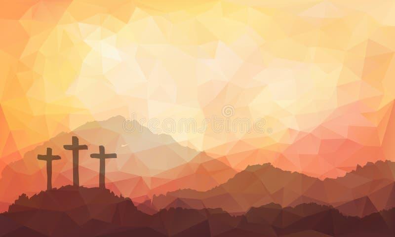 Сцена пасхи с крестом Иллюстрация вектора акварели Иисуса Христоса бесплатная иллюстрация