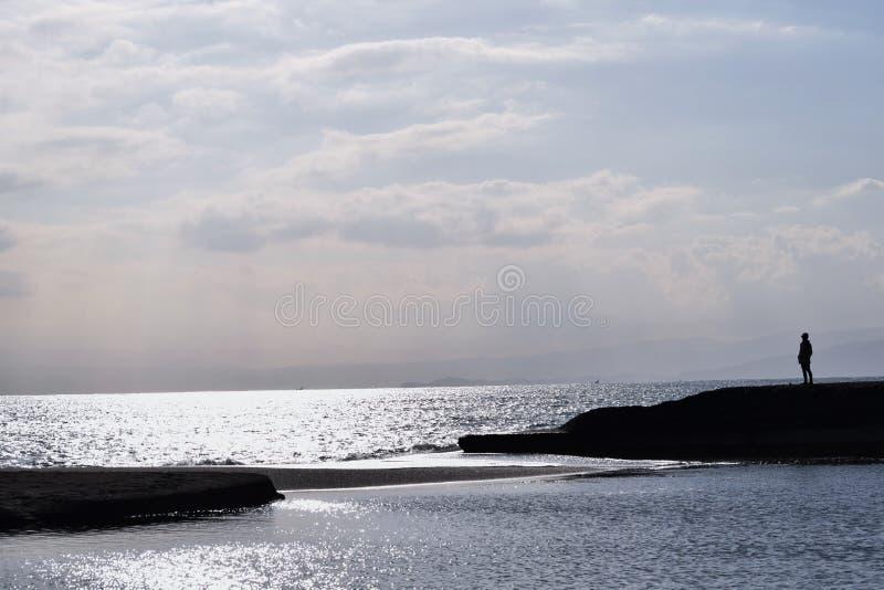 Сцена пляжа осени стоковые фотографии rf