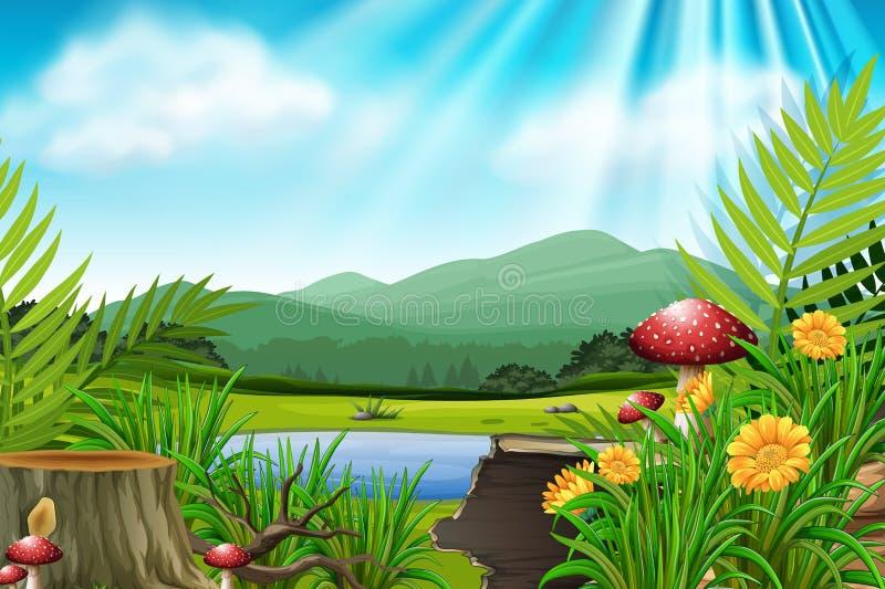 Сцена предпосылки с горой и озером иллюстрация вектора