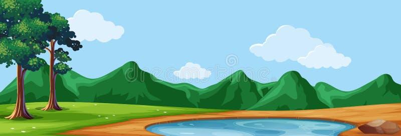 Сцена предпосылки с деревьями и прудом иллюстрация штока
