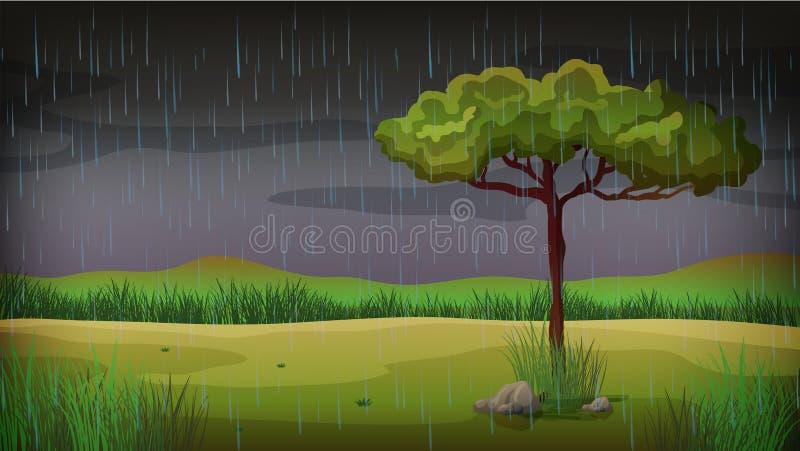Сцена предпосылки с дождем в парке иллюстрация вектора