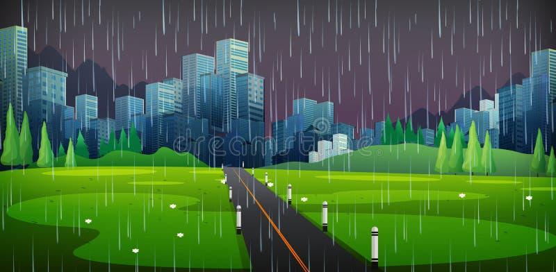 Сцена предпосылки с идти дождь в городе иллюстрация штока
