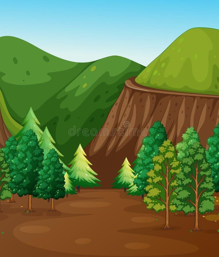 Сцена предпосылки с лесом и горами иллюстрация вектора
