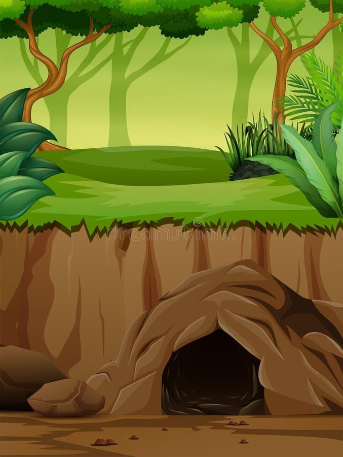 Сцена предпосылки с подземной пещерой в джунглях бесплатная иллюстрация