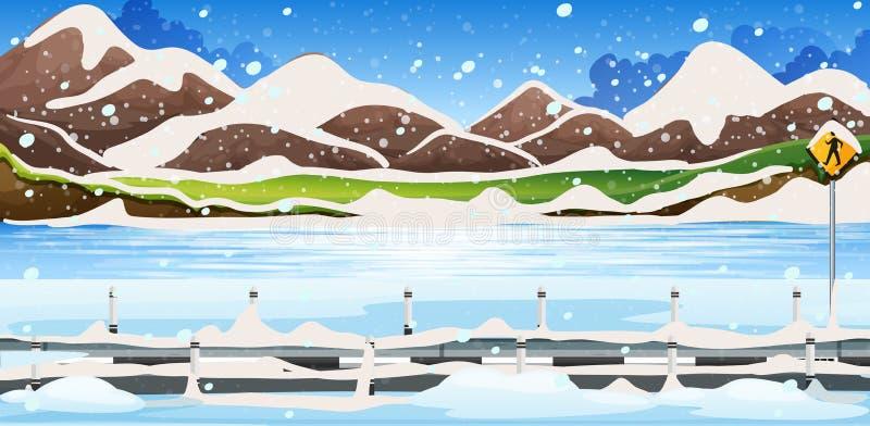 Сцена предпосылки с снегом на горах иллюстрация вектора