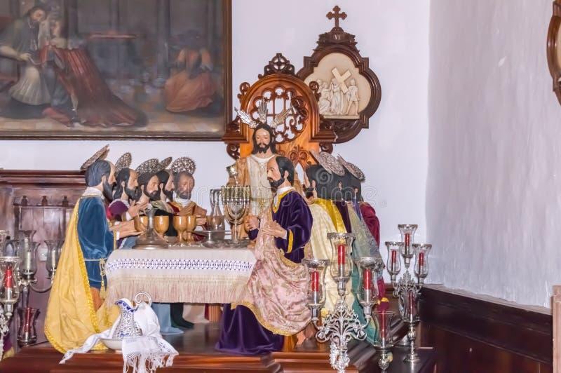 Сцена представляя последнюю еду Иисуса Христоса с его apostl стоковое изображение
