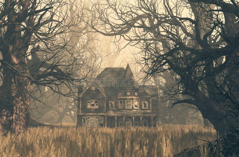 Сцена преследовать дома в страшном лесе иллюстрация штока