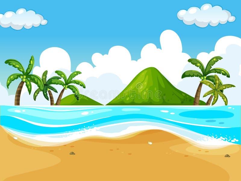 Сцена предпосылки с пляжем и океаном бесплатная иллюстрация