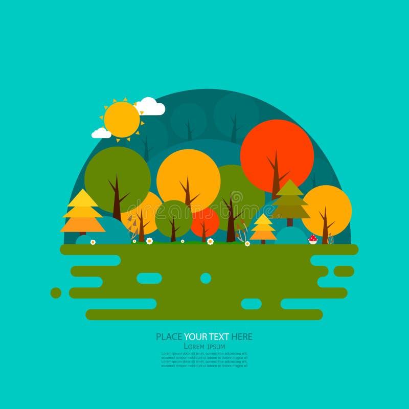 Сцена природы Вектор дизайна леса плоский бесплатная иллюстрация