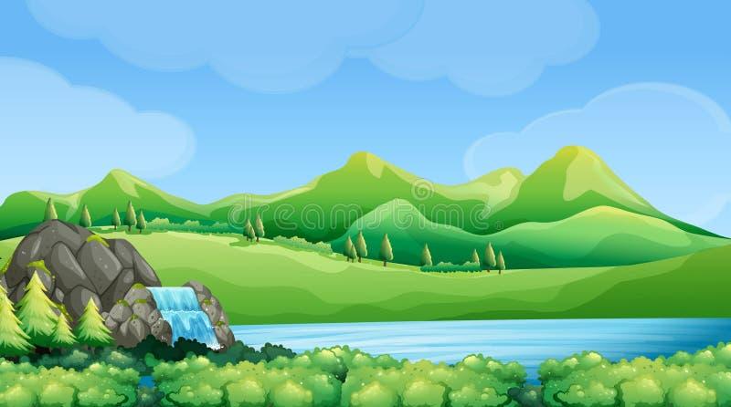 Сцена природы с водопадом и горами бесплатная иллюстрация
