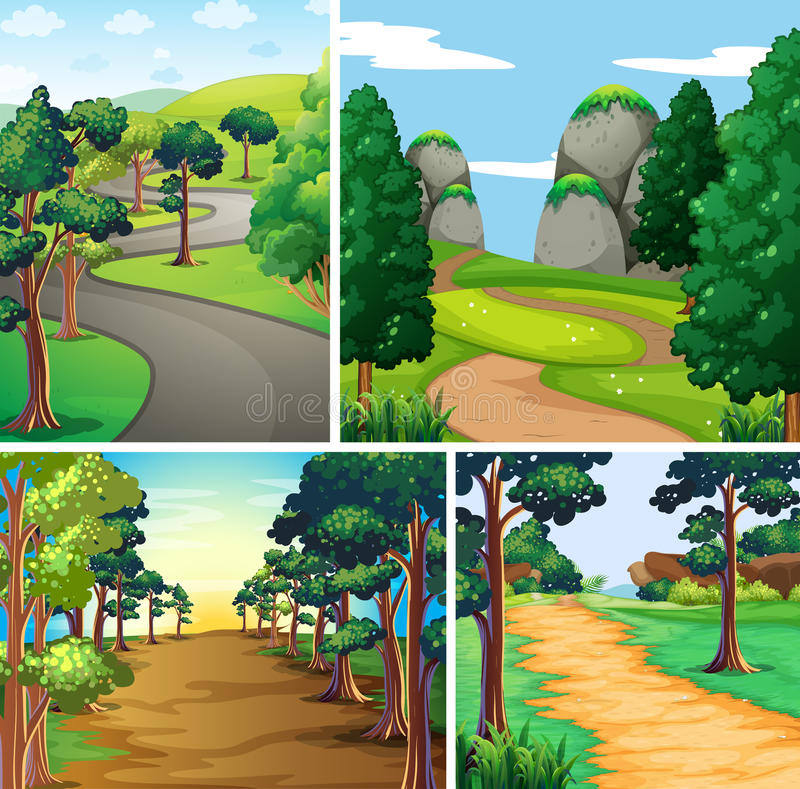 Сцена природы с дорогами и лесом бесплатная иллюстрация