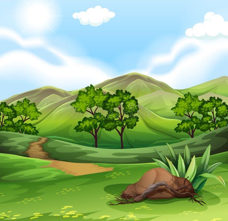 Сцена природы с полем и холмами иллюстрация штока