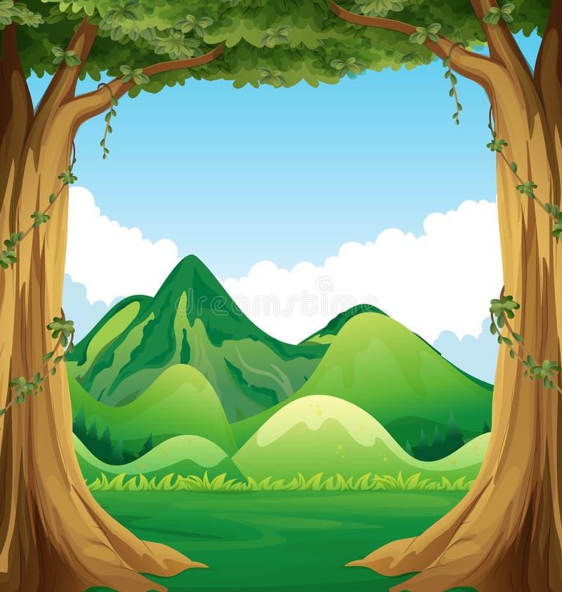 Сцена природы с предпосылкой холмов иллюстрация штока