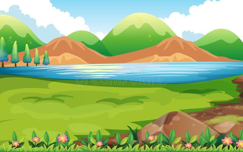 Сцена природы с предпосылкой холмов бесплатная иллюстрация