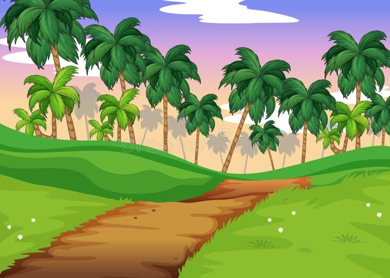Сцена природы с следом над холмами иллюстрация штока