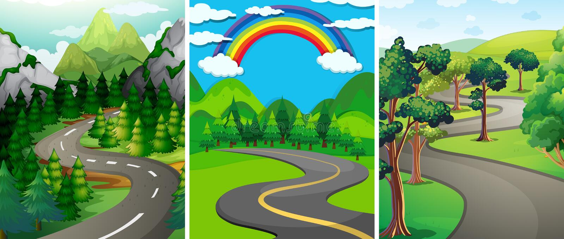 Сцена природы с улицей и лесом иллюстрация штока