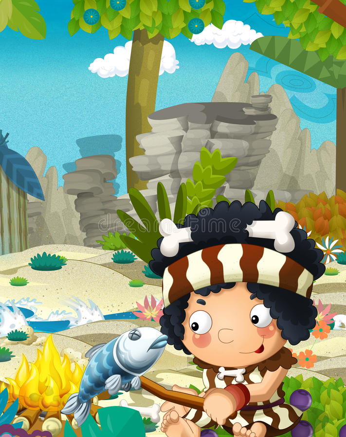 Сцена природы шаржа с троглодитом - джунглями - семья каменного века - с смешным мальчиком manga - счастливая сцена иллюстрация вектора