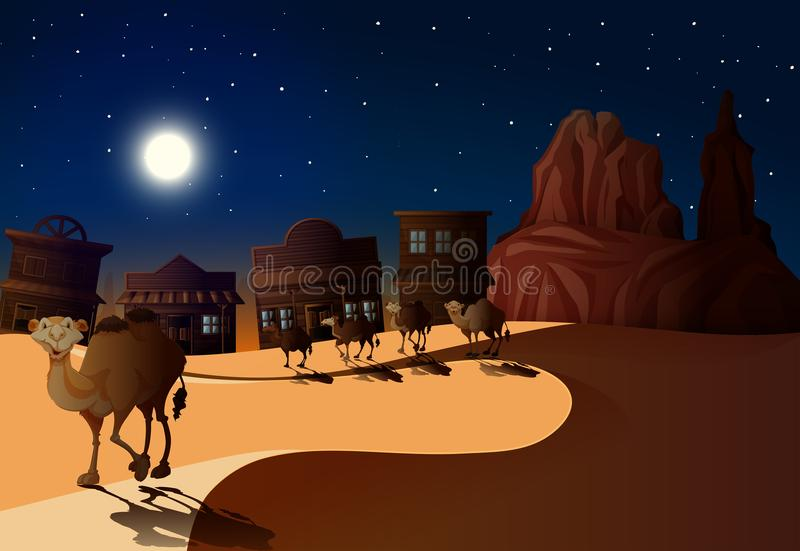 Сцена пустыни на ноче с верблюдами иллюстрация штока